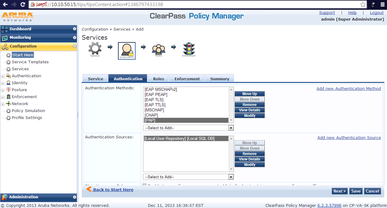 ClearPass – How to setup a Generic RADIUS Catch-all Service